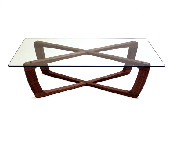Contemporary handmade tables for Modern wood and glass coffee table