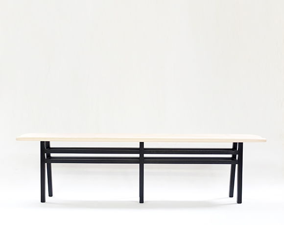small Bark Nell Ash and Oak Bench front 1